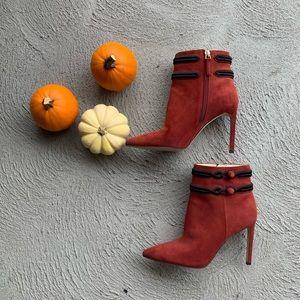 NINE WEST Teresa Orange Heeled Booties